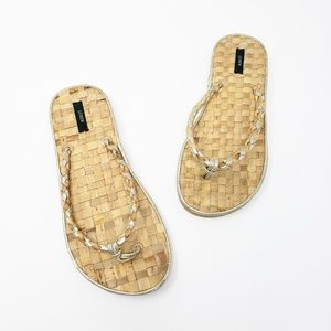 J Crew Silver Gold Woven Straw Thong Sandals
